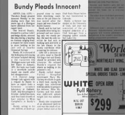 Ted Bundy pleads innocent in murder of Caryn Campbell
