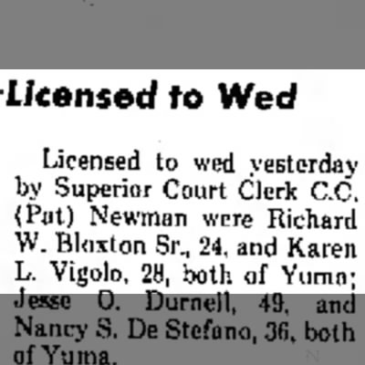 The Yuma Daily Sun (AZ), Page 6 - 21 August 1975 - Rick & Karen wed license - to licensed to Wed Licensed to wed yesterday by...