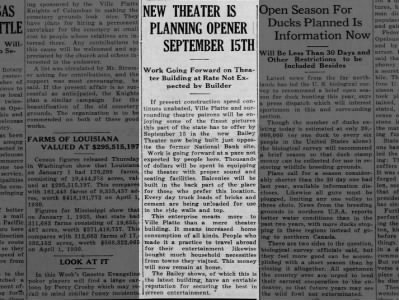 Baily theatre opening