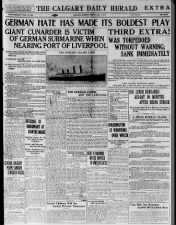 Canadian newspaper headlines about the sinking of the Cunard liner Lusitania