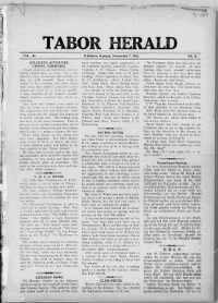 Sample Tabor Herald front page