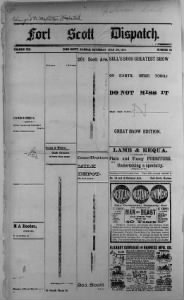 Sample Fort Scott Dispatch front page