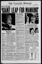 Canadian front page newspaper coverage of the Apollo 11 moon landing
