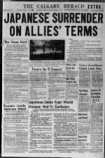 Calgary, Canada, August 14 front page with V-J Day headline: