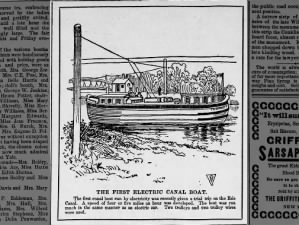 Image of the first electric boat on the Erie Canal in 1893