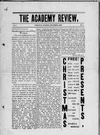 Sample The Academy Review front page
