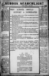 Sample Aurora Searchlight front page