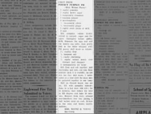 Prize-winning pumpkin pie recipe from 1940 with brown sugar, marshmallows, and walnut crust