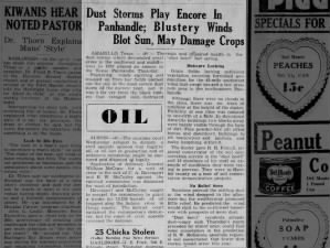 Newspaper article describes 1936 Dust Bowl storm in Texas Panhandle