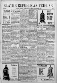 Sample Olathe Republican Tribune front page