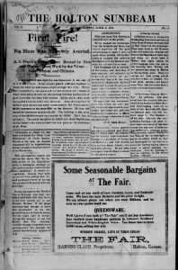 Sample The Holton Sunbeam front page