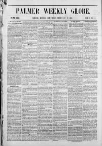 Sample Palmer Weekly Globe front page
