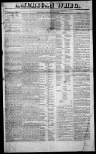 Sample American Whig front page