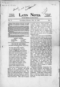 Sample Latin Notes front page