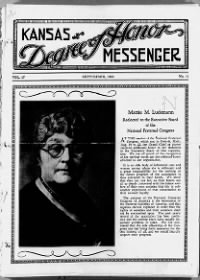 Sample Kansas Degree of Honor Messenger front page