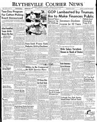 The Courier News from Blytheville, Arkansas on September 29, 1952 · Page 1