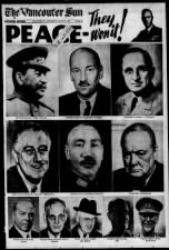 Vancouver, Canada, newspaper August 15 (V-J Day) front page with images of Allied leaders