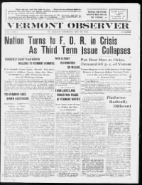 Sample Vermont Observer front page