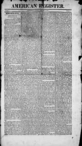 Sample American Register front page