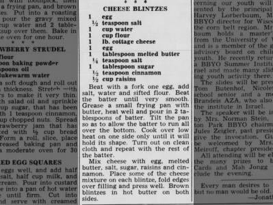 Recipe: Cheese blintzes (1959)
