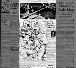 Image of the Nijmegen Bridge & map of progress of Operation Market Garden