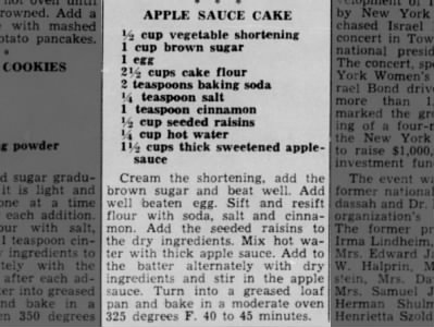 Recipe: Applesauce cake (1958)