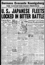 Canadian newspaper front page with news and articles about the Battle of Leyte Gulf in 1944