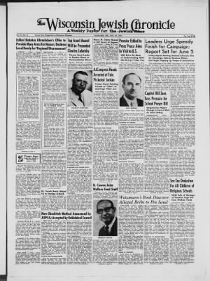 The Wisconsin Jewish Chronicle from Milwaukee, Wisconsin on May 29, 1964 · Page 1