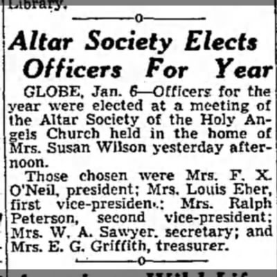 Mrs Louis Eber - Altar Society Elects Officers For Year GLOBE,...