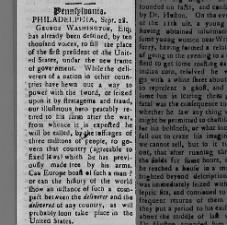 Newspaper editorial showing the popularity of George Washington: