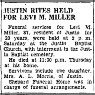Justin Rites Held For Levi M. Miller December 1948 - JUSTIN RITES HELD FOR LEVI M. MILLER Funeral...