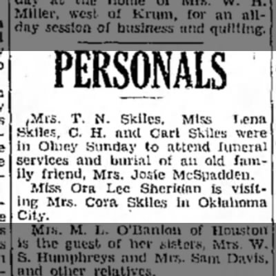 Mrs. Cora Skiles, Oklahoma City,  listed in Personals