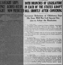 Wisconsin and Illinois legislatures ratify the 19th Amendment in June 1919