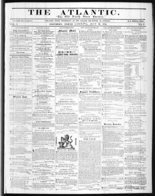 The Atlantic From New Bern North Carolina On July 19 1854 Page 1