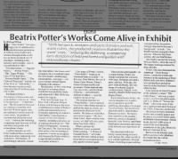 Beatrix Potter works and memorabilia exhibit article summarizes her life and work