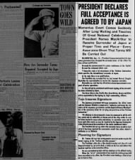 President Harry Truman announces Japan has accepted the surrender terms of the Potsdam Declaration