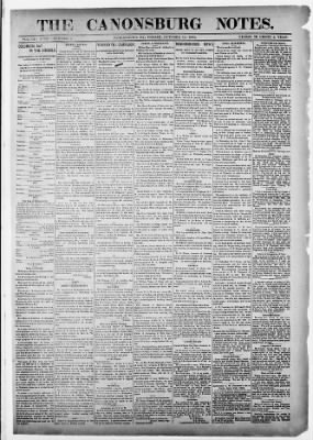 The Canonsburg Weekly Notes from Canonsburg, Pennsylvania on October 14, 1892 · 1