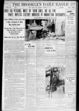 New York newspaper front page with early details and photos of the Triangle Shirtwaist Factory fire