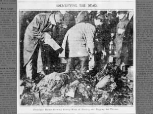 Photo showing the naming and tagging of victims of the New York Triangle Shirtwaist Factory fire