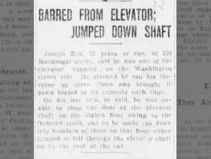 Victims of the Triangle Shirtwaist Factory fire jump down elevator shafts to try to escape