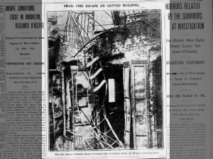 Photo of broken fire escape from Triangle Shirtwaist factory building