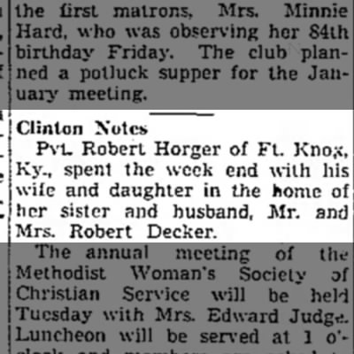 Pvt. Robert Horger Visited  sister 1942 -