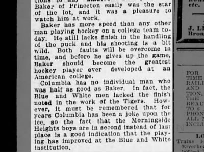 Columbia, under Tom Howard, loses to Princeton with Hobey Baker in his freshman year