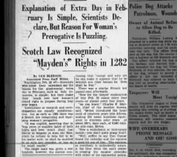 Puzzling origins of Leap Day as a day for women to propose cites 13C Scottish Law