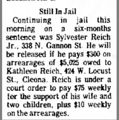 Sylvester Reich Jr in jail for arrearages to ex wife