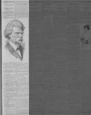 Newspaper reports on Samuel Clemens's death; includes image of Mark Twain
