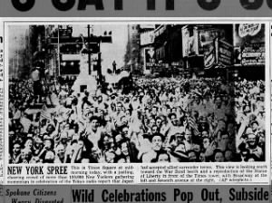 Picture of people in New York gathered at Times Square to celebrate Tokyo radio report of surrender