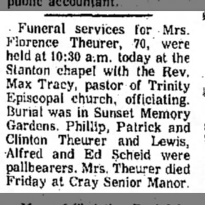 Florence Mary Diffley Theurer Funeral -