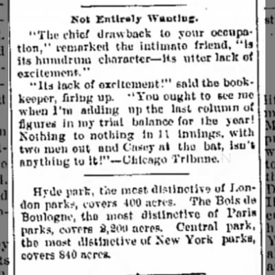 "The Journal News, Hamilton OH 29 March 1898 ""...with two men out and Casey at the bat..."""