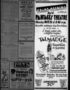 Pantages theatre opening